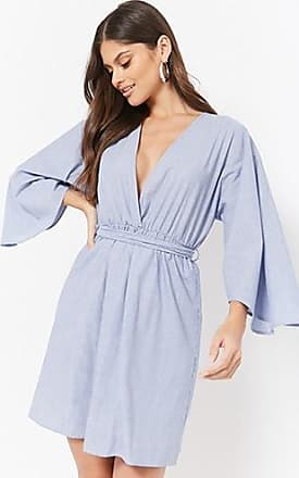 Forever 21 Forever 21 Pinstriped Kimono Dress Blue