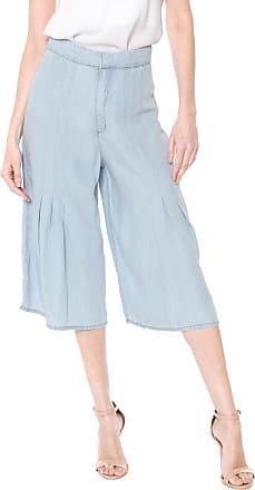 Enna Calça Jeans Enna Pantacourt Pregas Azul