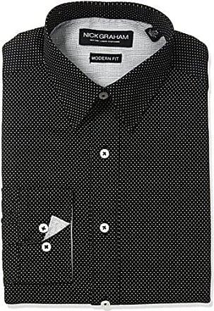 Nick Graham Mens Dot Cotton Dress Shirt, Black, Medium/L 15.5 Neck 34/35 Sleeve
