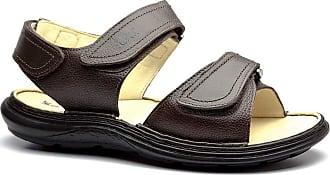 Doctor Shoes Antistaffa Sandália Masculina 917301 em Couro Floater Café Doctor Shoes-Marrom-39