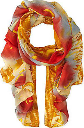 La Fiorentina Womens Abstract Floral Print Scarf with Swirls, Red Combo, One Size