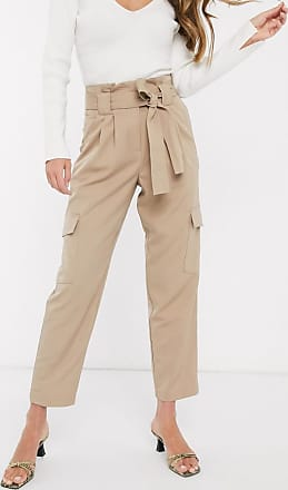 Y.A.S cargo trousers with paperbag waist in beige-Black
