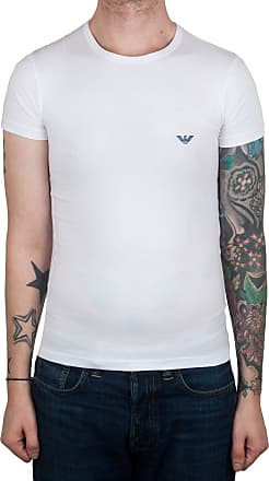 Emporio Armani Slim Fit Front Logo T-Shirt in White (Large)