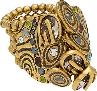 Camila Klein Anel botão com pedrarias - Dourado