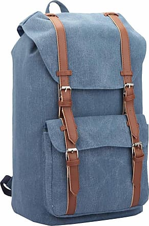 Quenchy London Backpack Casual Daypack for Girls and Women, Medium Canvas School Size A4 Bag 45cm x30x9 25 Litre QL916 (Light Blue Jeans)