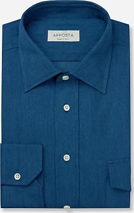 Apposta Camicia tinta unita blu 100% puro cotone denim, collo stile italiano basso