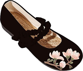 Daytwork Walking Embroidery Vintage - Women Traditional Chinese Style Dancing Mary Jane Flowers Flats Shoes Black