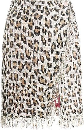 Blumarine Saia reta com estampa de leopardo - Marrom