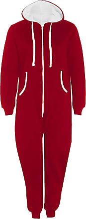 Islander Fashions Adults Zip Up Onsie1 Hooded Playsuit Unisex Thermal All in One Sports Jumpsuit Red 5X Large