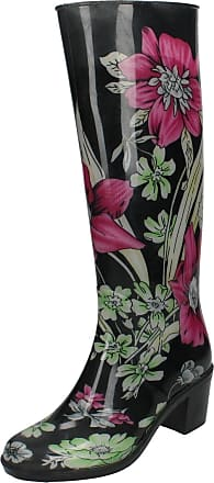 Spot On Ladies Spot On Heeled Wellington Boots With Floral Design - Black Multi Synthetic - UK Size 3 - EU Size 36 - US Size 5