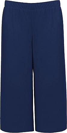 Islander Fashions Women 3/4 Length Stretch Printed Culottes Ladies Wide Leg Elasticated Trouser Navy UK 16-18