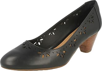 74b9c0df391 Clarks Womens Smart Clarks Denny Dazzle Leather Shoes In Black Extra Wide Fit  Size 3