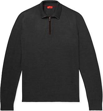 Isaia Merino Wool Half-zip Sweater - Dark gray