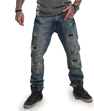 Yakuza Men Jeans Biker Straight, Size:W32, Color:Medium Distressed