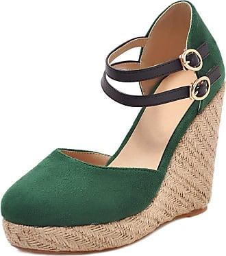 Mediffen Women Ankle Strap Wedge High Heels Espadrilles Platform Sandals Comfort Ladies Fashion Summer Wedges Sandals Green Size 43 Asian