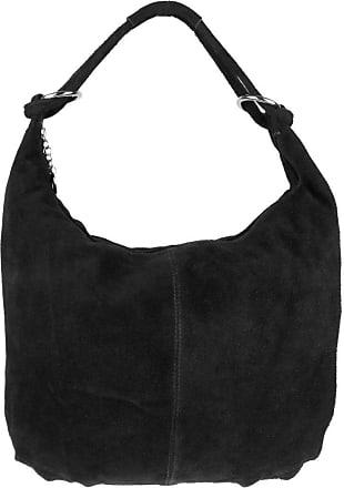Girly HandBags Girly HandBags Hobo Italian Suede Leather Shoulder Bag - Black