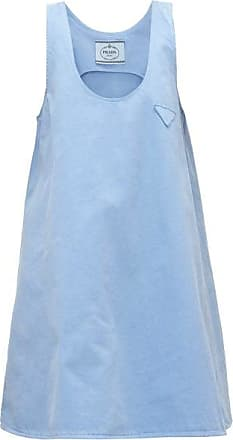 Prada A-line Denim Mini Dress - Womens - Light Blue