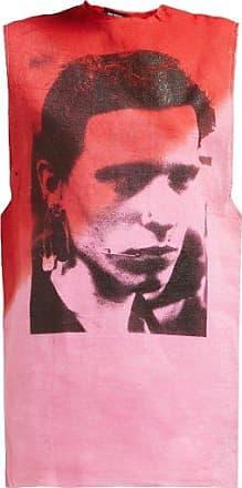 Raf Simons Two-tone Photographic-print Cotton Tank Top - Womens - Pink Multi