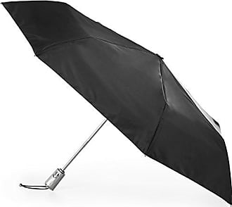 Totes Totes Automatic Open Close Water-Resistant Travel Folding Umbrella with Sun Protection, Black