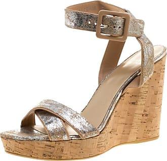 1811aa86b2b Stuart Weitzman Metallic Silver Embossed Suede Cross Strap Cork Wedge  Sandals Si