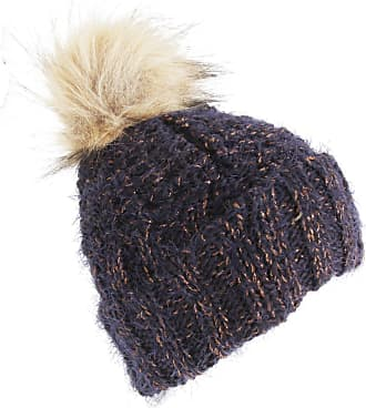 Foxbury Womens/Ladies Chunky Winter Hat with Faux Fur Bobble (One Size) (Navy)