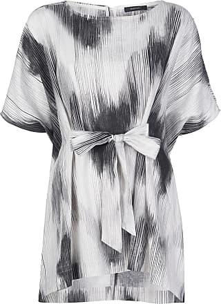 Natori Blusa com estampa abstrata e amarração na cintura - Cinza