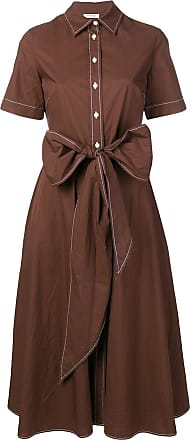 P.A.R.O.S.H. oversized bow shirt midi dress - Brown