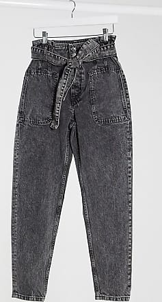 Pimkie slouchy jeans with tie waist in washed grey