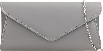 LeahWard Womens Faux Leather Clutch Bags Wedding Flap Handbags 490H (Grey)