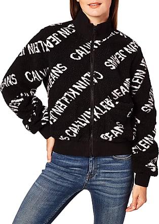 Calvin Klein Jeans Womens Diagonal Logo Sherpa Jacket, CK Black, M