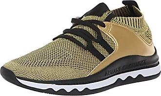 A|X Armani Exchange Womens Lace Up Athleisure Sneaker, LightGold/Black, 37M Medium EU (7 US)