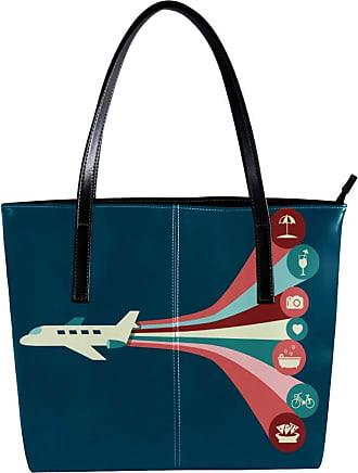 Nananma Womens Bag Shoulder Tote handbag with Holiday Airplan Pattern Zipper Purse PU Leather Top-handle Zip Bags