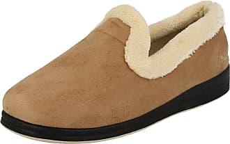 Padders Ladies Padders Wide Fit Slippers Repose Camel Size 5EE