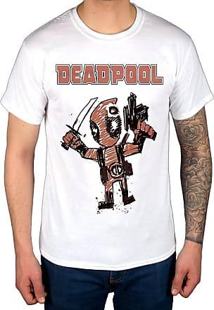 AWDIP Official Marvel Comics Deadpool Cartoon Bullet T-Shirt White