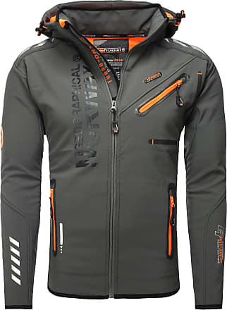 Geographical Norway Mens Softshell Outdoor Jacket Rainman Turbo-Dry Hood - Dark Grey, XXL