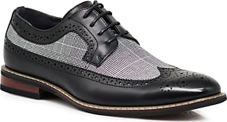 Enzo Jeans Titan01 Mens Spectator Tweed Plaid Two Tone Wingtips Oxfords Perforated Lace Up Dress Shoes Black Size: 9.5