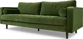 MADE.COM Scott 3-Sitzer Sofa, Samt in Grasgruen