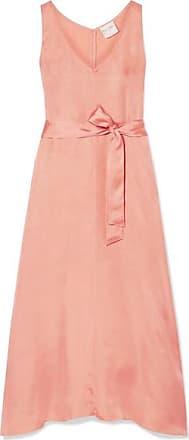 Forte_Forte Belted Washed-satin Midi Dress - Antique rose
