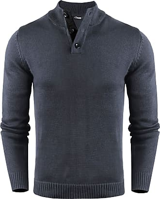 iClosam Mens Pullover Sweater Stand Collar with Buttons Grey
