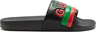 Gucci Original Gucci Logo Leather And Rubber Slides - Womens - Black Multi