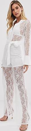 Unique21 Unique21 wide leg belted jumpsuit-White
