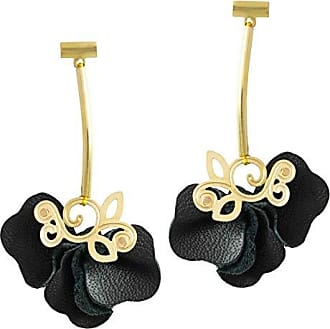 Tinna Jewelry Brinco Dourado Floral (Preto)
