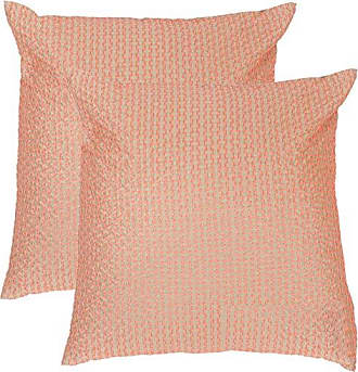 Safavieh Pillow Collection Throw Pillows, 12 by 20-Inch, Box Stitch Neon Tangerine, Set of 2