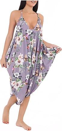 Momo & Ayat Fashions Ladies Cami Lagenlook Romper Baggy Harem Jumpsuit Playsuit UK Size 8-26 (M/L) UK 12-14, Lilac Floral