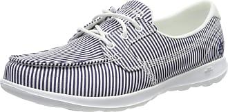 Skechers Womens GO WALK LITE - CARIBBEAN Boat Shoes, Blue (Navy/White NVW), 4 (37 EU)