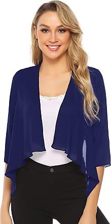 Abollria Cardigans for Women Lightweight 3/4 Sleeve Waterfall Open Front Cardigan Blazer Coat Deep Blue