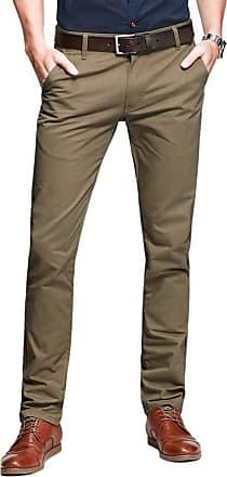 OCHENTA Mens Casual Slim-Tapered Flat-Front Trousers Dark Khaki Lable 30