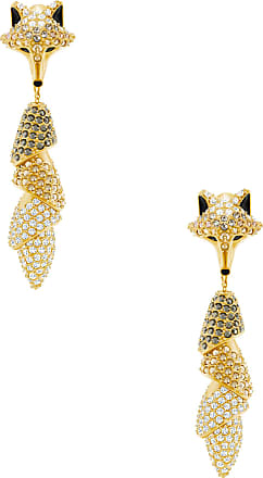Swarovski Brincos March Fox Pierced, Colorido, Metal De Dourado