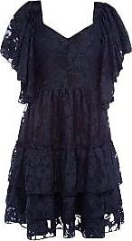 Weili Zheng Dunkelblaues kurzes Kleid mit Spitze - medium
