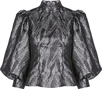 Ganni metallic puffed-sleeves blouse - Black